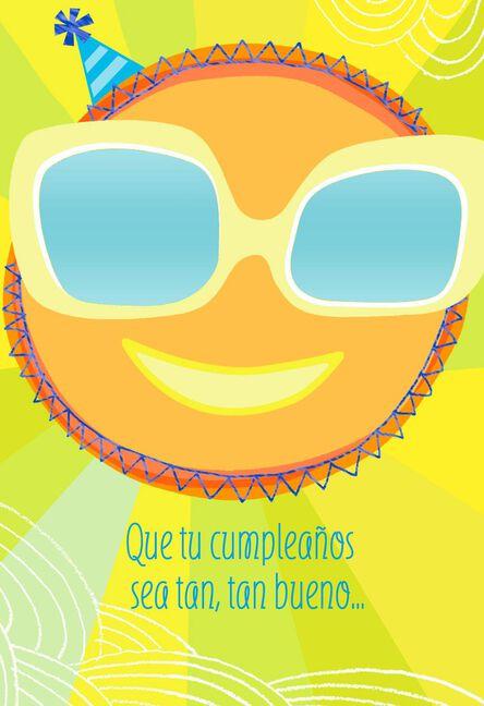 Sunglasses And Sunshine Spanish Language Birthday Card For Child