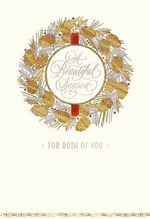 Son and Love Wreath Christmas Card,