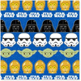 Star Wars™ Characters on Blue Wrapping Paper Roll, 25 sq. ft., , large