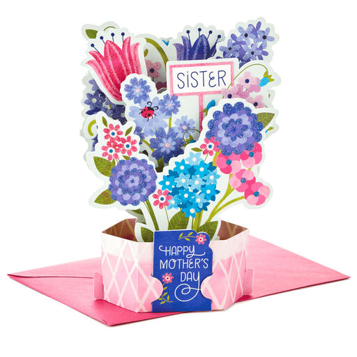 Flower Bouquet Pop Up Mothers Day Card For Sister
