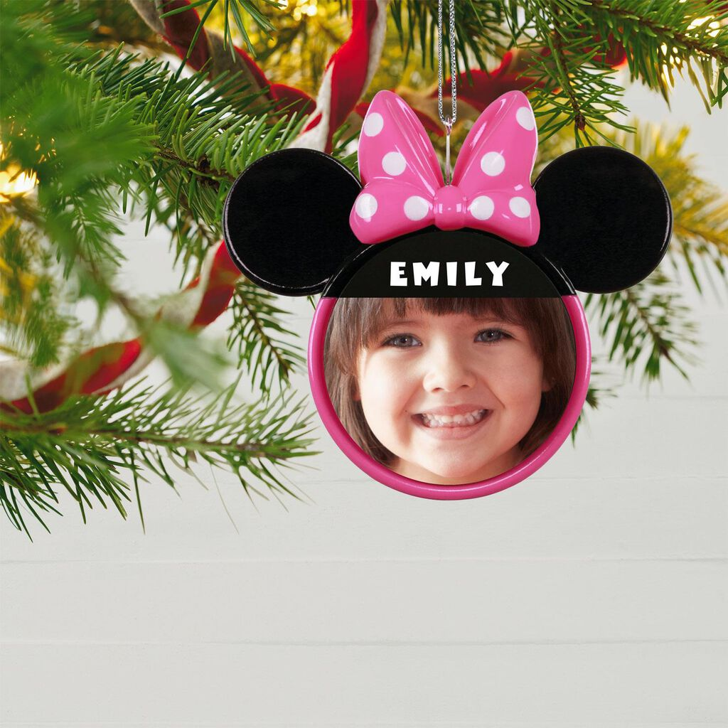 Minnie Mouse Christmas Tree Decorations.Disney Minnie Mouse Ears Silhouette Text And Photo Personalized Ornament