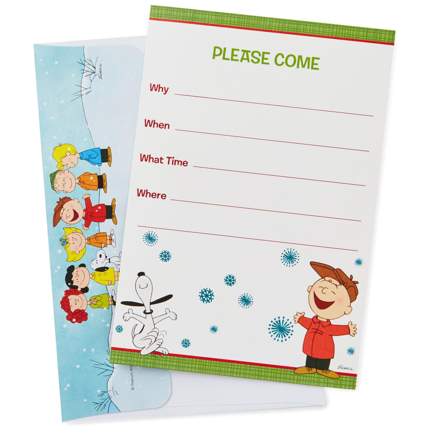 Peanuts® Charlie Brown and Snoopy Holiday Invitations, Pack of 10 ...