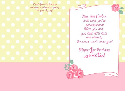 Aristocats 1st Birthday Card With Wearable Hair Bow,