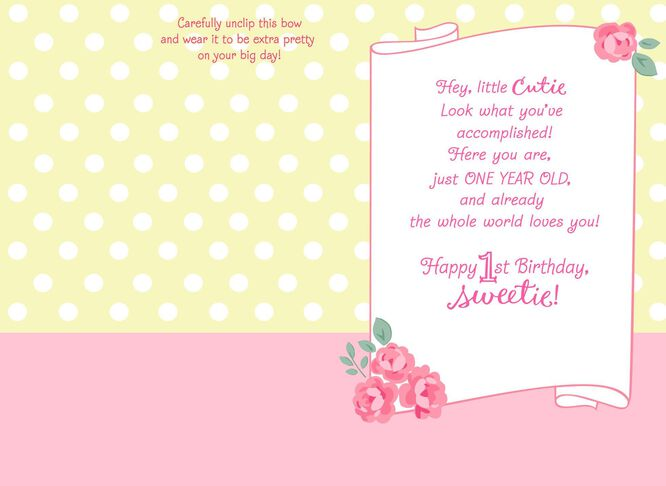 Aristocats 1st Birthday Card With Wearable Hair Bow Greeting – Happy 1st Birthday Card