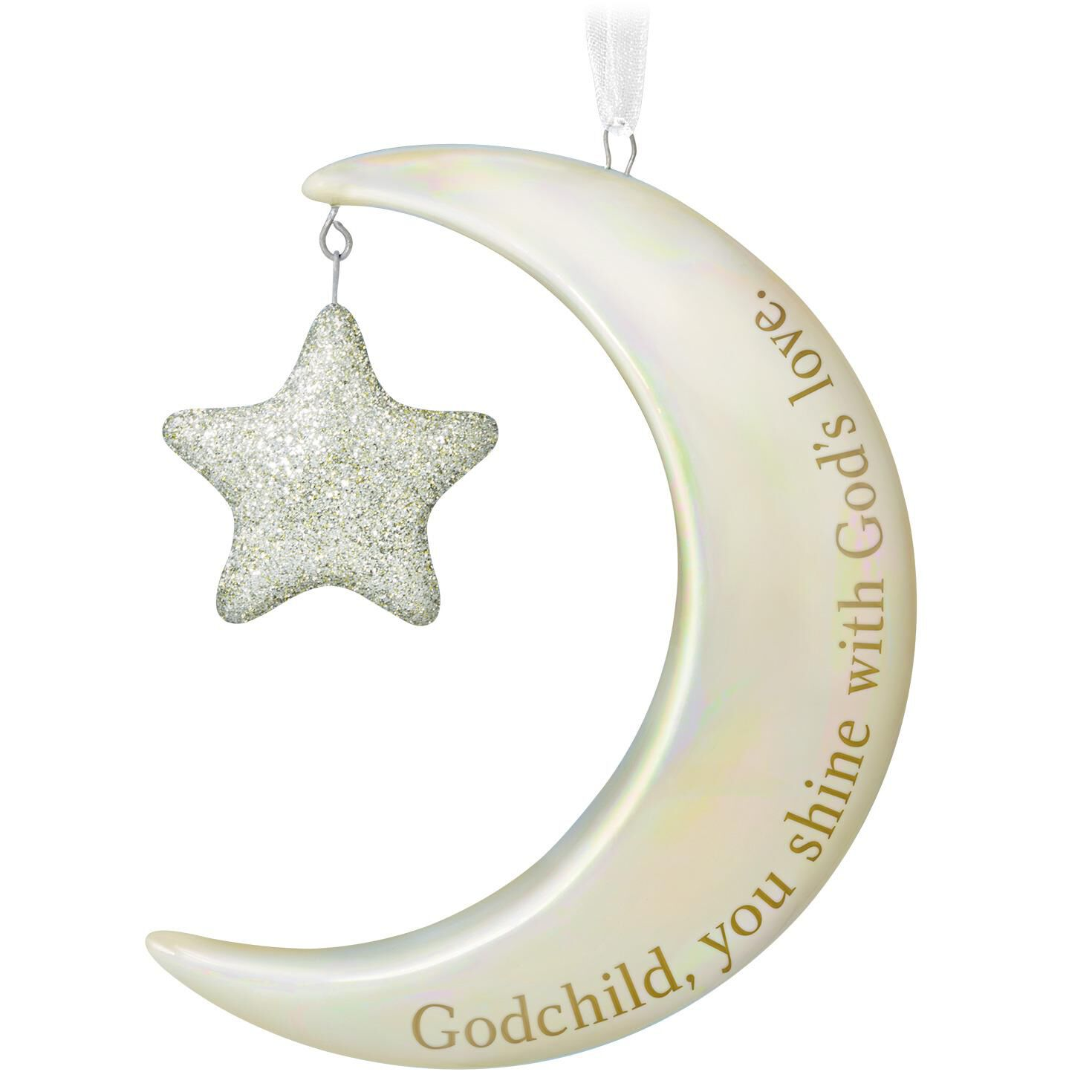 Godchild You Shine Moon and Stars Ornament  Keepsake Ornaments