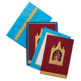 Holy Family in Gold Frame Religious Christmas Cards, Box of 16, , large