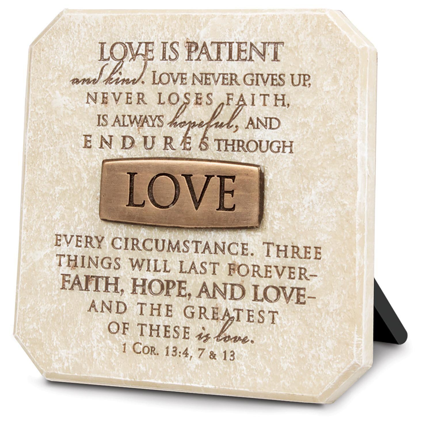 love stone plaque 1 corinthians 13 4 7 13 plaques hallmark. Black Bedroom Furniture Sets. Home Design Ideas