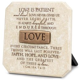 Love Stone Plaque - 1 Corinthians 13:4, 7, 13, , large