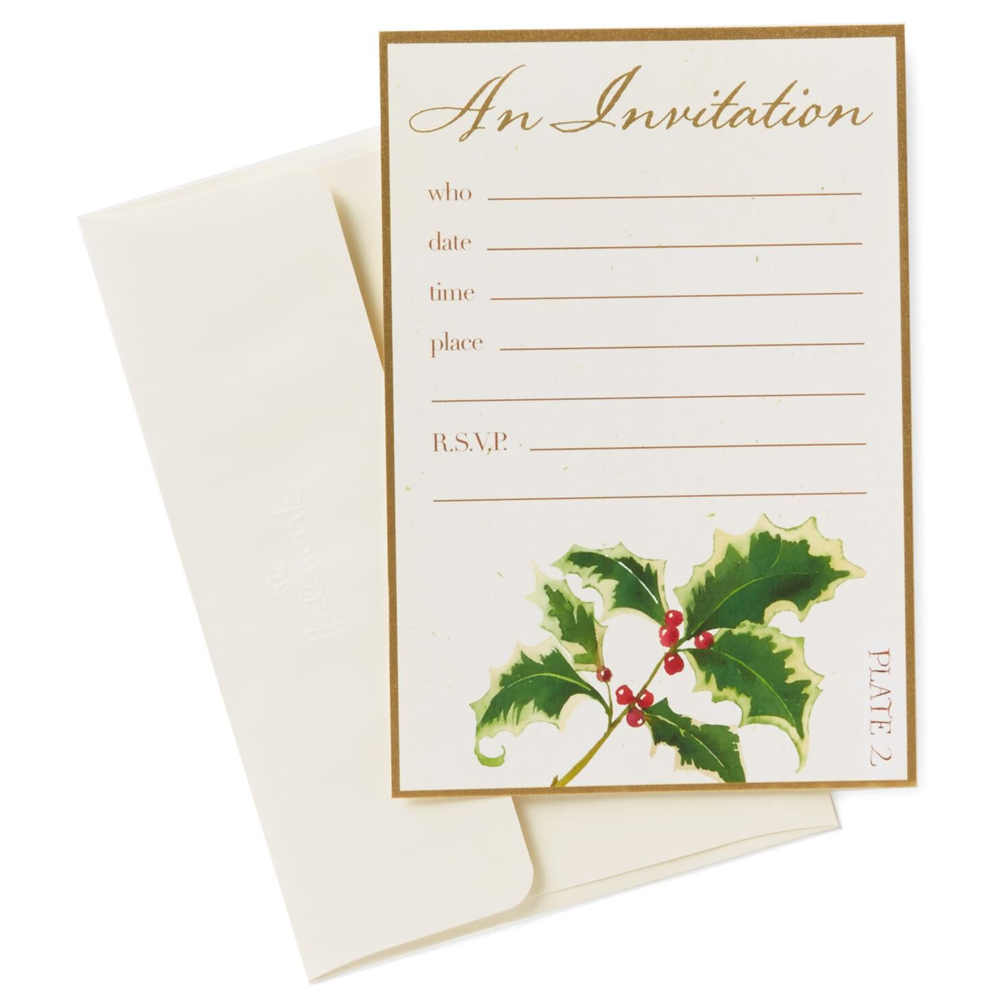 Classic Holly Berries Holiday Party Invitations Pack of 10 – Packs of Party Invitations