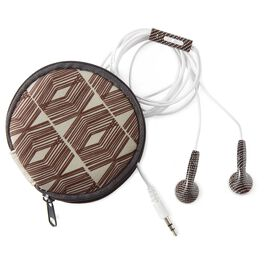 Natural & Authentic Brown Dot Earbuds With Etched Lines Case, , large