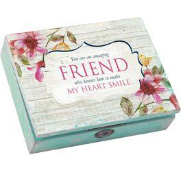 "Cottage Garden ""Friend"" Floral Decoupage Distressed Music Box, , large"