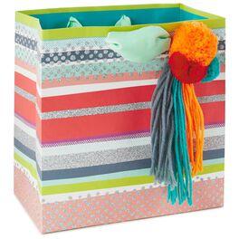 "Pom Pom Tassel Medium Square Gift Bag, 7.75"", , large"