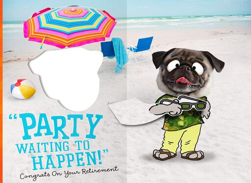 Beach Party Puppy Pop Up Retirement Card,