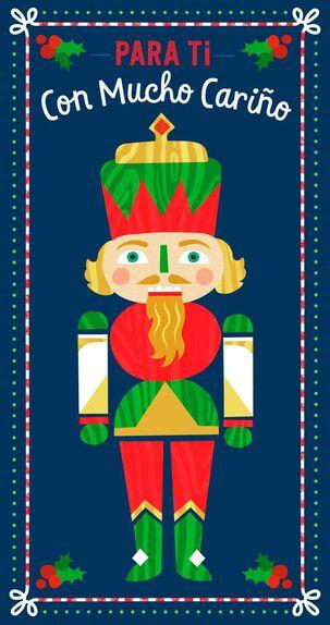 Nutcracker Spanish-Language Money Holder Christmas Card