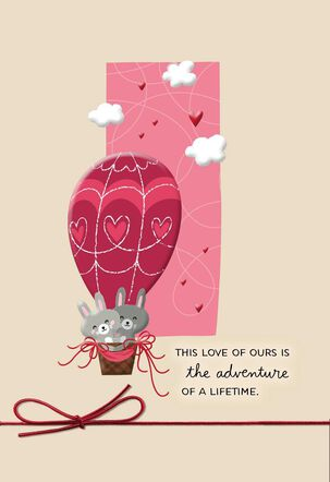 Bunnies in Hot Air Balloon Valentine's Day Card