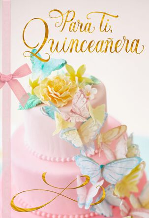 Butterfly Cake Spanish-Language Quinceañera Card