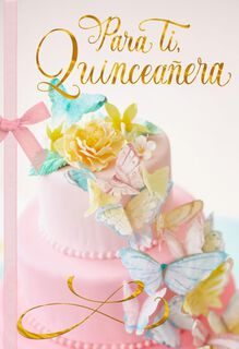 Butterfly Cake Spanish-Language Quinceañera Card,