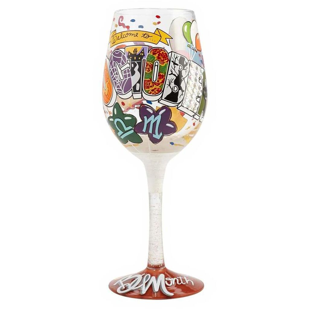 LolitaR October Birthday Month Handpainted Wine Glass 15 Oz