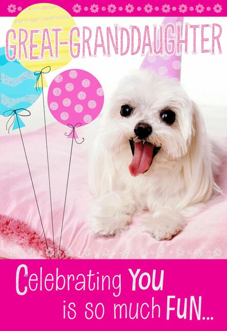 Puppy With Balloons Birthday Card For Great Granddaughter Greeting