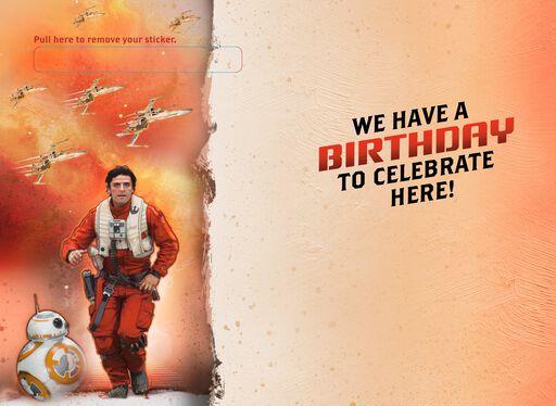 Light It Up! Star Wars™ Poe Dameron™ Birthday Card,