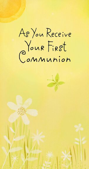 Butterfly and Flowers First Communion Money Holder Card