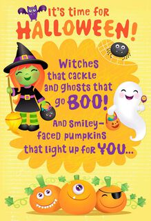 Frightfully Sweet Witches and Ghosts Halloween Card,
