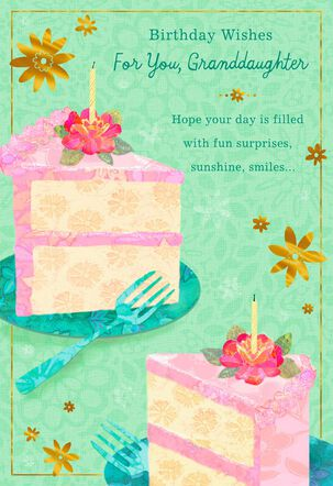 Pink Slices of Cake Birthday Card for Granddaughter