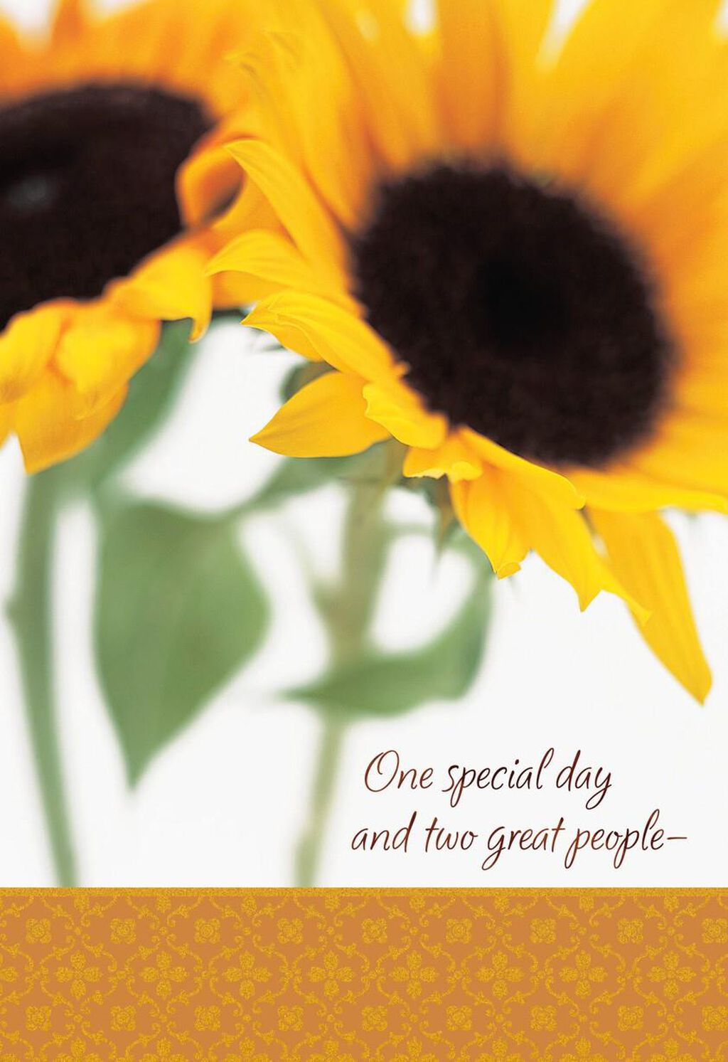 Two Sunflowers Happy Birthday Card For My Twin Greeting Cards