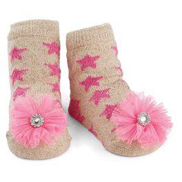 Mud Pie® Glitter Star Puff Baby Socks, , large