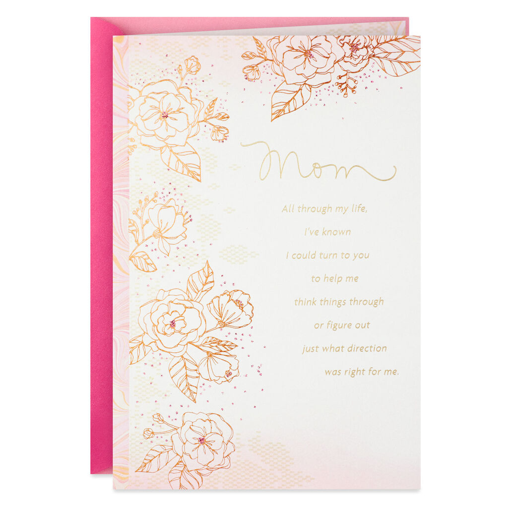 Sketched Flowers With Pink Marble Border Birthday Card For Mom