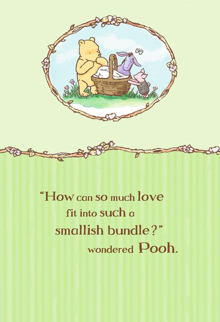 winnie the pooh bundle of joy new baby card - Baby Greeting Cards