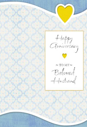 Gold Heart Anniversary Card for Husband
