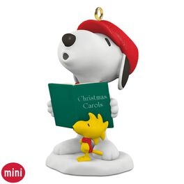 Winter Fun With Snoopy and Woodstock Caroling Mini Ornament, , large