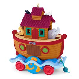 Santa Certified Ark Pull Toy Ornament, , large