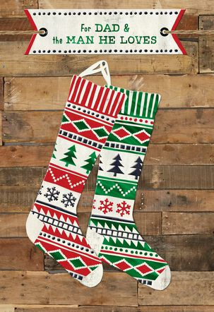 Dad and Partner Stockings Christmas Card