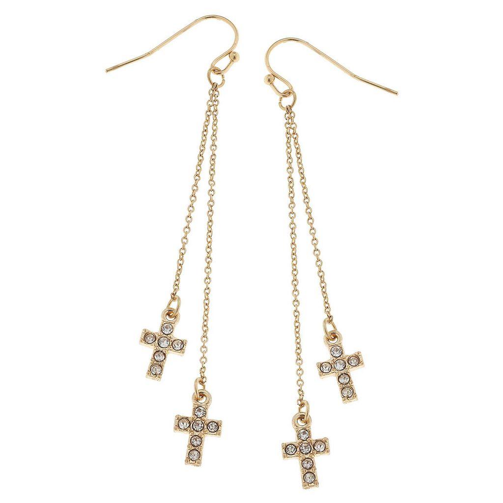 ed41f527391d Pavé Cross Drop Chain Dangle Earrings - Jewelry - Hallmark