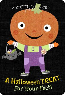 Glow in the Dark Pumpkin Trick-or-Treater Halloween Card,