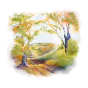 Watercolor of Country Landscape Blank Card