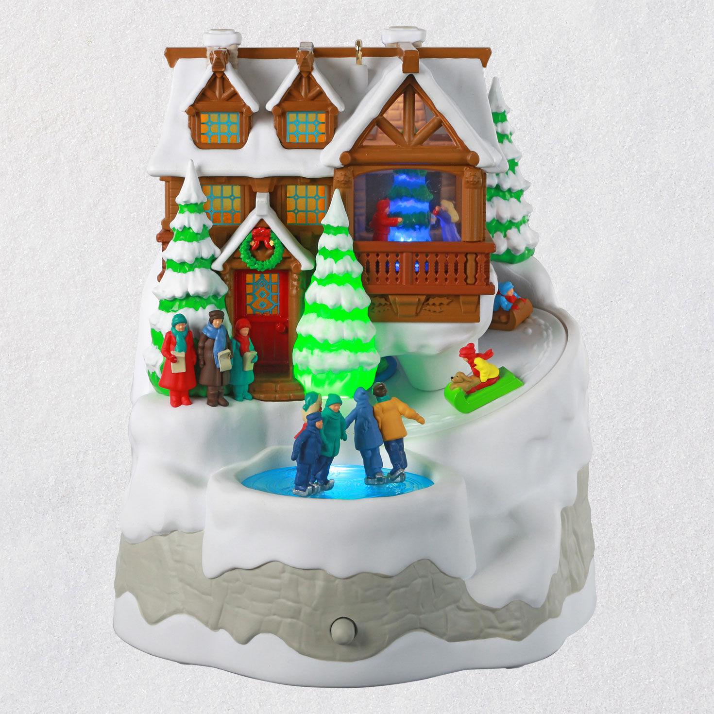 Christmas Cabin Musical Ornament With Light And Motion Keepsake Ornaments Hallmark