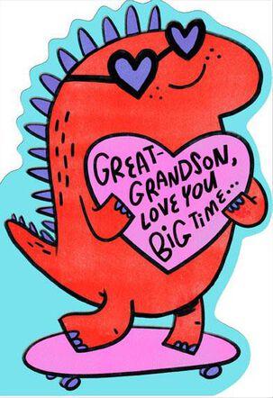 Skateboarding Dinosaur Great-Grandson Valentine Card