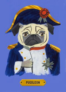 Napoleon Pug Birthday Card,