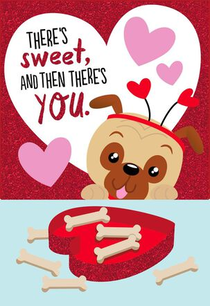 Pug Dog With Treats Valentine's Day Card for Child