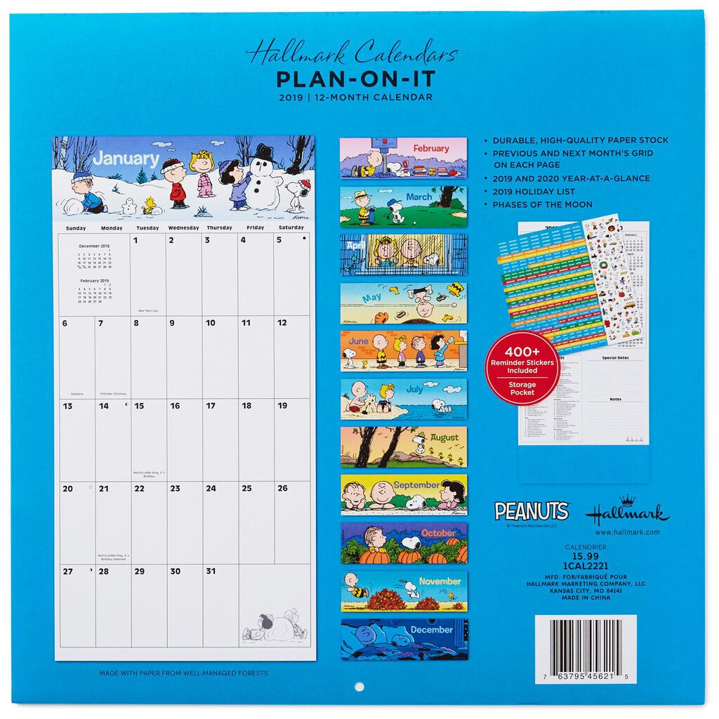 Peanuts Large Grid 2019 Wall Calendar With Stickers 12 Month
