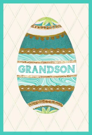 Grandson Decorative Egg Easter Card