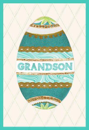 Grandson Decorative Egg Easter Card
