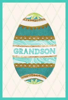 Grandson Decorative Egg Easter Card,