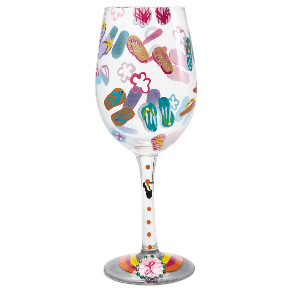 a64b96be522e Lolita® Flip Flops Handpainted Wine Glass
