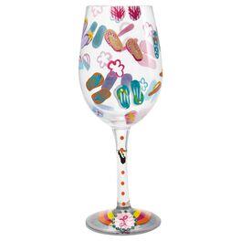 Lolita® Flip Flops Handpainted Wine Glass, 15 oz., , large