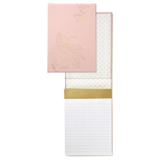 Blush Floral Faux Leather Large List Pad,