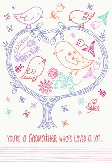Birds in a Tree Happy Birthday Card for Godmother,